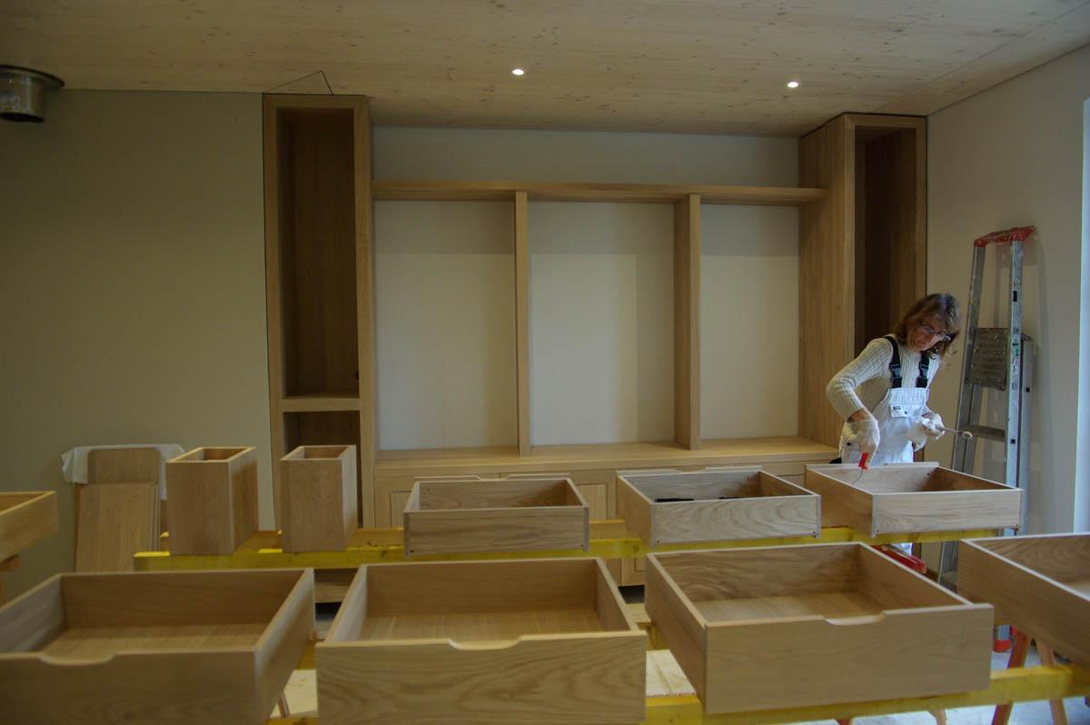 Meubles en ch ne massif agencement de salon senlis 60 atelier de decorati - Meuble aperitif salon ...